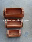 Set3 Wooden Flower Pot with hoop iron