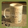 Fashion porcelain straight recordable mug cup with ABC