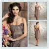 BD05 Elegant chiffon scoop neckline Knee-length Bridesmaid dress