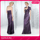 AZ0575 Sweetheart Rulle Rbbion Purple Taffeta long mother of the bride jacket dresses
