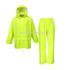Men's 100% waterproof polyester PVC rainsuit