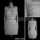 Elegant DNS-11158 White Round-Neck Long-Sleeve Hand Made Flower Knee-Length A-Line Chiffon Bridesmaid Dresses