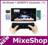 Fly mouse keyboard T3 2.4GHz 3D Fly Air Gyro Mouse Wireless Keyboard for PC Android APPLE Linux PS3