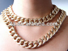 Newest Shiny Cut LIGHT GOLD Plated Chunky Aluminium Curb Chain Necklace