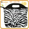 fashion lunch bag women black zebra made of 600D polyester