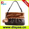 Korea style lady bag with rabbit hair