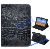 Crocodile Lines Pattern Stand Leather Case for Samsung Galaxy Tab 8.9 P7300/P7310(Black)