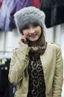 2012 fashion knitted cross mink fur hat,girls' mink cap.