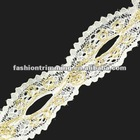 White metallic thread lace trims