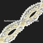 White metallic thread lace trims