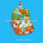 hand painted eastern chicken ceramic candy pot