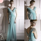 Newest Light Blue V Cuts Simple Long Formal Dress 2012