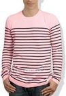 stripe sweater 12gg jersey stitch 100% cashmere knitted men's pullover winter knitwear BS-1146