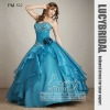 Dramatic Ball Gown Appliques Handmake Flower Tiered Organza Prom Dress PM520