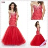 3504-1hs Lastest Design Beadings Dress Red Organza sweetheart Off-shoulder Trumpet Floor-length meimaid prom dress