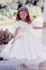 wavy edge multilaminate tulles with pleats flower girl dress