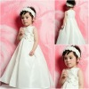 Cheap price wholesale simple style ruffled satin white color flowers girls dress
