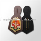 Leather key fob with metal badge with low cost