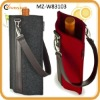 one bottle felt wine gift carrier with genuine leather handle