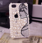 DIY long hair woman half face pearl and rhinestone cell phone case for iphone 4g fancy cell phone case for iphone 4/4s 296