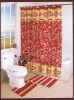Red 100% polyester printed PEC/PV Shower Curtain/Bath Curtain 021