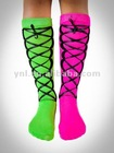 Lace Up Mix and Match Knee High Socks