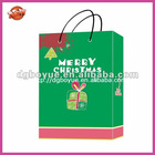 Manufacturing quality green Christmas carrier bag with