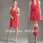 Wholesale 2012 Hot !FE12047 A-line Halter Knee-length Chiffon Bridesmaid Dress