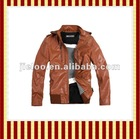 Locomotive with dazzle colour PU leather brown fur leather jackets for men