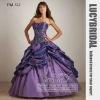 Popular Ball Gown Strapless Appliques Pick-ups Taffeta Prom Dress PM522