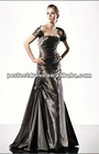 Cap sleeve black prom dresses of designers PR0312