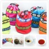 christmas gift tuocha mini tea packed with ethnic cotton bag puer tea