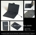 "8"" keyboard leather case for flytouch 10"" tablet PC,with USB cable and interface"