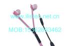 Unique designed pink zipper earphone