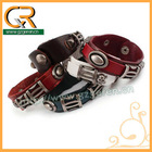 030658 Hot 2013 snap closure antique silver skull leather bangle