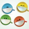 funny smiley ceramic coffee cup and saucer set