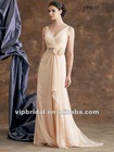 Charming chiffon V-neck beaded handmade flowers sexy mother of the bride dresses