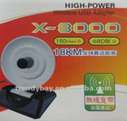 high power wifi adapter Wifi-King x8000 Antenna wifi 802.11b/g/N 54Mbps 3800mW 68dBi RT3070 usb wifi adapter