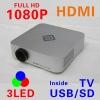 LCOS+3 LED projector,HD projector,HDMI,1080p,USB/SD,TV,Mini portable projector