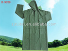 Newest 0.32mm PVC/polyester long green raincoat with elasticity cuff