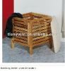 multifunctional solid wooden storage stool, with canvas seat
