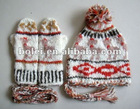 Children knitted jewelry hat scarf gloves with striped design