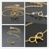 BowKnot Shape Pendant 18K Gold Necklace Sweater Necklace