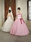 Full Length Strapless Ball Gown Quinceanera Dress Patterns With Bow QV-084