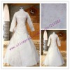 A line satin and lace long sleeve muslim wedding gown