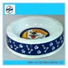 Round melamine dog bowl with decal