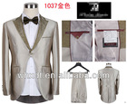 Gold fashion western design slim fit 1 button wedding men suits 2012