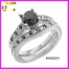 Black onyx with white cz stone engagement ring