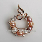 hot crystal brooch pin made with pearl and freshwater pearl