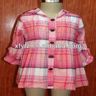 2012 100%Cotton flannel children's hooded shirt with smocking